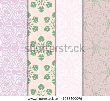 Set Of Ornamental Flower Design. Modern Seamless Geometry Pattern. Vector Illustration. For The Interior Design, Printing, Web And Textile Design #1258600096