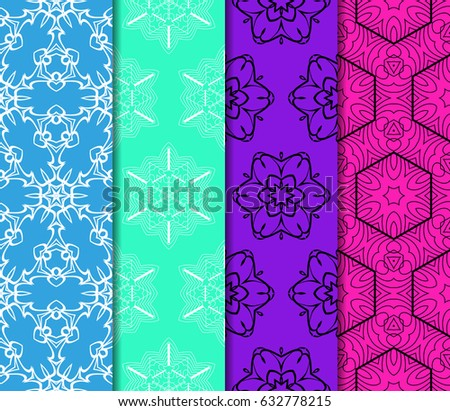set of Ornamental flower design. Modern seamless geometry pattern. Vector illustration. For the interior design, printing, web and textile design. #632778215