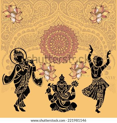 Set of ornamental Indian elements and symbols.Ganesha.Ind ian woman. Elephant, mask