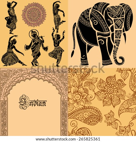 Set of ornamental Indian elements and symbols.Indian woman Elephant mask.Indian architecture