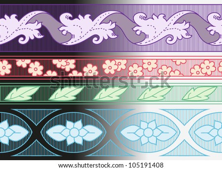 Set of ornamental seamless borders