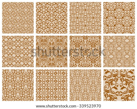 set of 12 ornamental seamless