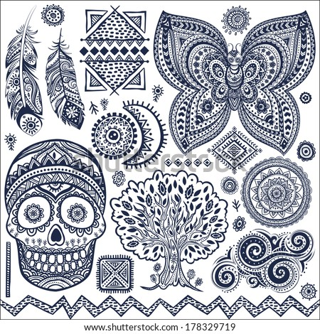 vector images illustrations and cliparts set of ornamental tribal