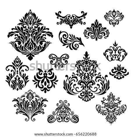set of ornamental vector damask