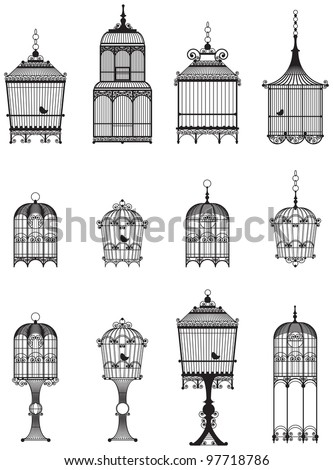 set of ornamental vintage birdcages with birds - stock vector