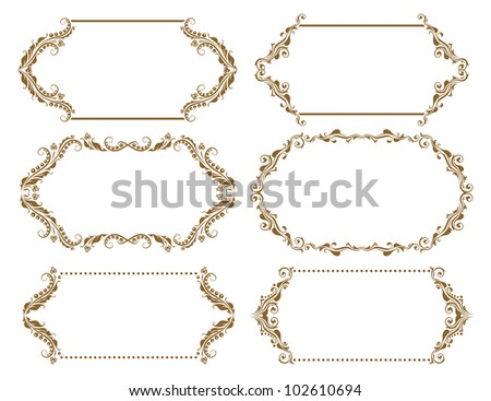 Set of ornate floral vector frames for invitations or announcements. In vintage style.
