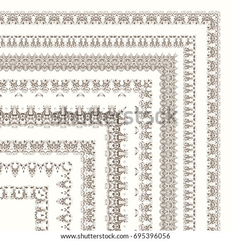 Set of ornate frames and borders isolated on white background. Design for diploma and certificate. Stock vector illustration. #695396056