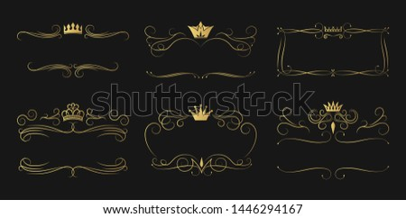 Set of ornate golden crown frames. Elegant gold vintage borders for alcohol bottle branding. Swirl Irish whiskey royal ornament.