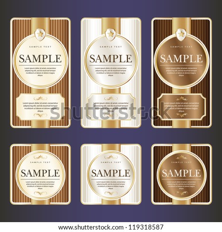 Set of ornate label for chocolate. Grouped for easy editing. May be used also for labels or stickers for wine, beer, champagne, cognac, cologne and etc.