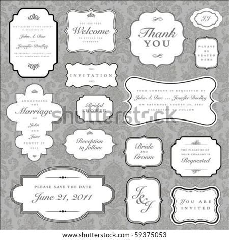 Set of ornate vector frames and ornaments with sample text Perfect as invitation or announcement All pieces are separate Easy to change colors and edit.