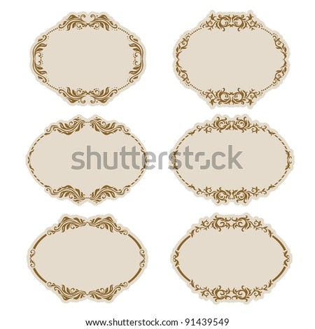 Set of ornate vector frames . In vintage style. Basic elements are grouped.
