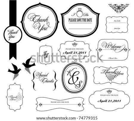 Set of ornate vector frames.  Perfect for invitations or announcements.