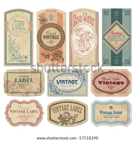 Set of 10 ornate vintage labels, vector illustration. Old fashioned backgrounds with typography. Engraving style ornaments and frames. Retro elements for your design.