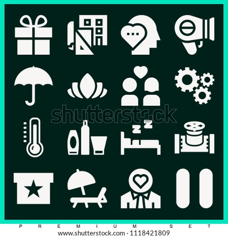 Set of 16 other filled icons such as pause button, mechanical gears, valve, blueprint, bed, couple, sunbed, umbrella, hairdryer, cosmetics products, high temperature, lotus