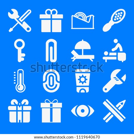 Set of 16 other filled icons such as sun cream, pencil and ruler crossed, paper clip, show, settings tools, antique key, hand comb, tool, massage, hammock, high temperature