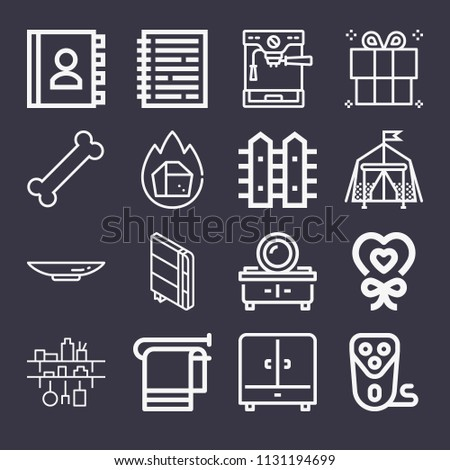 set of 16 other outline icons