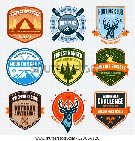 Set of outdoor adventure badges and hunting logo emblems