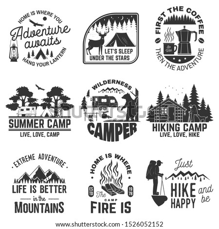 Set of outdoor adventure quotes symbol. Vector. Concept for shirt or logo, print, stamp or tee. Vintage design with hiker, campfire, lantern, coffee, mountains, bear, deer, tent and forest silhouette