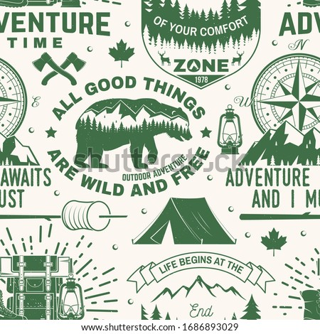 Set of outdoor adventure seamless pattern, background. Vector. Seamless camping pattern with hiking boots, camping tent, lantern, axe, mountains, bear, deer, forest silhouette. Camping texture