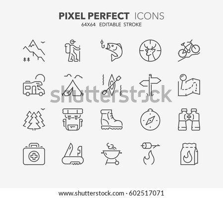 Set of outdoor and camping activities thin line icons. Contains icons as mountain bike, trail map, barbecue grill, hunting and fishing, equipment and more. Editable vector stroke. 64x64 Pixel Perfect.