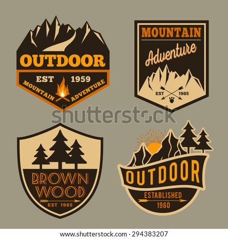 Set of outdoor camping adventure and mountain badge logo, emblem logo, label design
