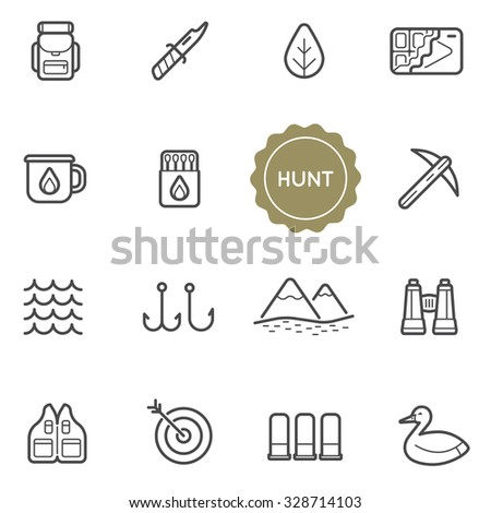 set of outdoor hunting vector