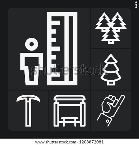 set of 6 outdoor outline icons