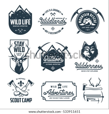 Set of outdoor wild life related labels badges emblems and design elements for t-shirt, posters, prints. Motivational lettering. Vintage typography compositions. Vector illustration.