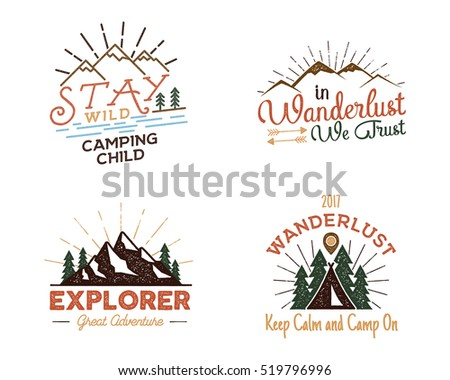 Set of outdoors activity badges. Hiking custom quotes and phrases, labels. Typography and roughen style. Vector emblems with letterpress effect. Inspirational texts isolated on white background