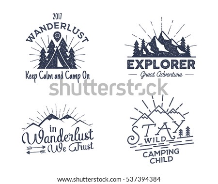 Set of outdoors activity badges. Retro illustration of outdoor activity labels. Typography and roughen style. Vector outdoors activity logo with letterpress effect. Custom quotes. Inspirational text - Shutterstock ID 537394384