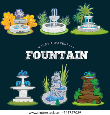 set of outdoors fountain for
