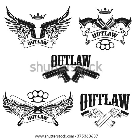 set of outlaw t shirt print
