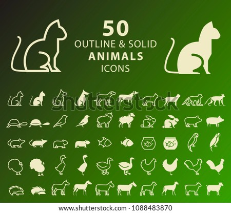 Set of 50 Outline and Solid Animals Icons . Vector Isolated Elements