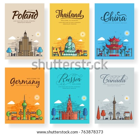 set of outline different cities