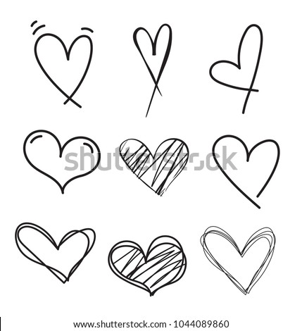 Set of outline hand drawn heart icon.Hand drawn doodle grunge  heart vector set.Rough marker hearts isolated on white background. vector heart collection.Unique Painted