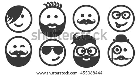 Set of outline hipster emoticons, emoji isolated on white background, persons with stylish haircuts, modern beards and mustaches, men wearing glasses, vector illustration
