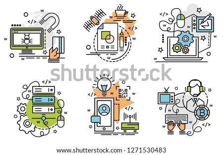 Set of outline icons of Digitilization. Colorful icons for website, mobile, app design and print.