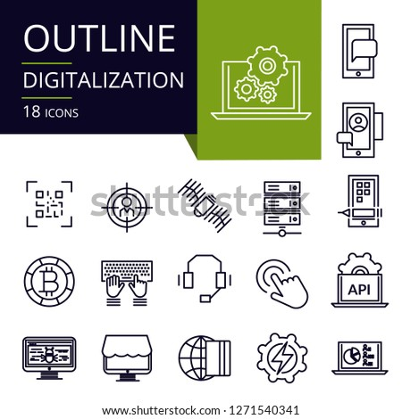 Set of outline icons of Digitilization. Modern icons for website, mobile, app design and print.