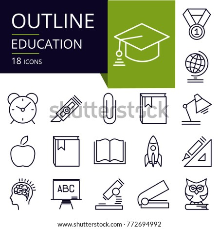 Set of outline icons of education.  Modern icons for website, mobile, app design and print. Editable stroke.