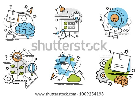 Set of outline icons of Idea.Colorful icons for website, mobile, app design and print.