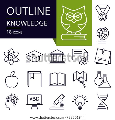 Set of outline icons of Knowledge.Modern icons for website, mobile, app design and print.