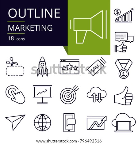 Set of outline icons of Marketing.
