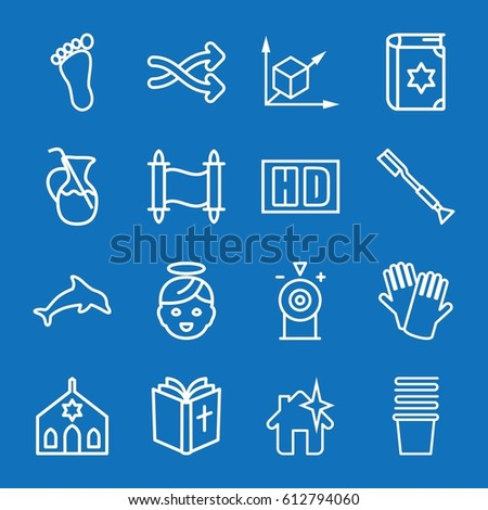 set of 16 outline icons such as