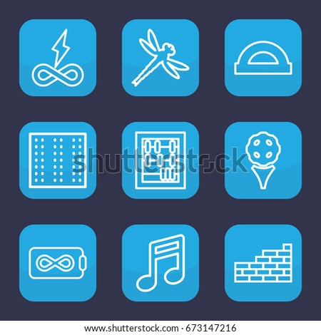 set of 9 outline icons such as