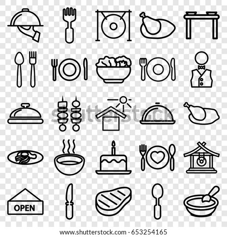 Set of 25 outline icons such as plate, fork and spoon, dish, gong, porridge