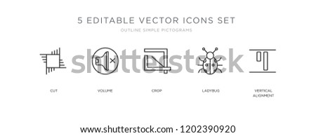 Set of 5 outline icons such as Vertical alignment, Ladybug, Crop, Volume, Cut, editable thin linear stroke vector icon pack