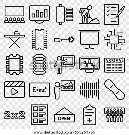set of 25 outline icons such as