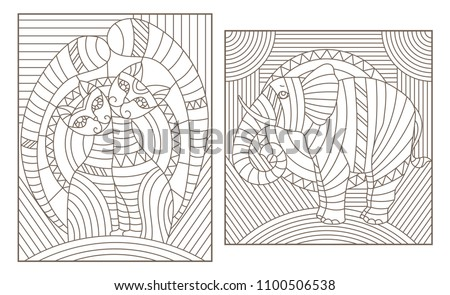 set of outline illustrations in