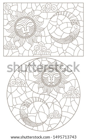 Set of outline illustrations of stained glass Windows with sun and moon on cloudy sky background, dark outlines on white background