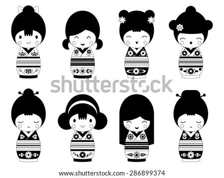 set of outline japanese kokeshi